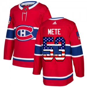 Men's Adidas Montreal Canadiens Victor Mete Red USA Flag Fashion Jersey - Authentic