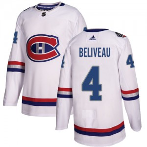 Men's Adidas Montreal Canadiens Jean Beliveau White 2017 100 Classic Jersey - Authentic